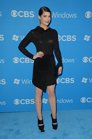 Janet Montgomery styled her sexy LBD with sky-high platform pumps.