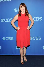 Alyson Hannigan rocked a fitted sleeveless red dress at the CBS Upfront Event in NYC.