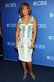 Gayle King opted for a cool printed frock for her look at CBS' upfront event.
