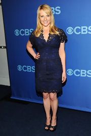 Melissa Rauch opted for a blue dress that featured black lace overlay for her look at the CBS Upfront event in NYC.