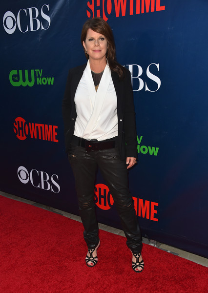 Marcia Gay Harden was rocker-chic in leather pants, a wrap top, and a blazer at the CBS Summer TCA Party.
