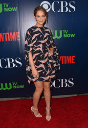 Ruth Wilson attended the CBS Summer TCA Party looking stylish in a bird-print mini dress by Valentino.