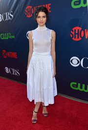 Julia Goldani Telles opted for a breezy look with this white turtleneck tank top when she attended the CBS Summer TCA Party.