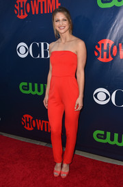 Melissa Benoist looked bright and sassy in a strapless red jumpsuit by Black Halo at the CBS Summer TCA Party.