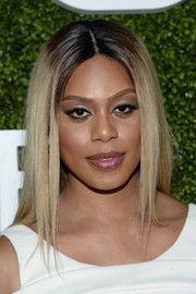 Laverne Cox stuck to her signature center part when she attended the CBS Summer TCA Party.