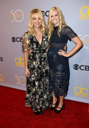 Beth Behrs was sweet and ladylike in a navy lace midi dress by Self-Portrait at 'The Carol Burnett Show 50th Anniversary Special.'