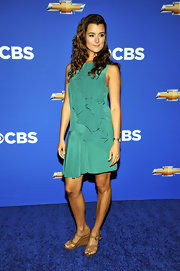 Cote's sea foam green dress boasted subtle ruffles and perfectly accentuated her olive complexion.