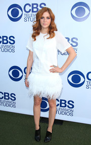 Rachelle Lefevre balanced out her frilly dress with a pair of simple black booties.