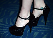 Pauley Perrette finished off a flirty LBD with classically cute Mary Jane-esque pumps.