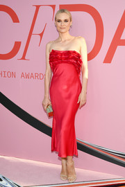 Diane Kruger looked ultra feminine in a strapless red ruffle dress by Jason Wu at the 2019 CFDA Fashion Awards.