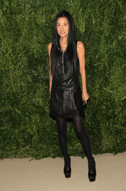 Vera Wang went the rocker-chic route with this black leather dress when she attended the Fashion Fund finalists celebration.