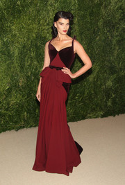 Crystal Renn took us back to Old Hollywood with this burgundy velvet-panel gown by Zac Posen during the Fashion Fund finalists celebration.