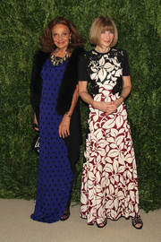Anna Wintour donned a floor-length leaf-print dress by Marc Jacobs for the Fashion Fund finalists celebration.