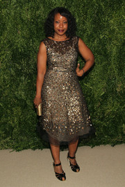 Tracy Reese chose a beaded sheer-overlay dress for a fetching look during the Fashion Fund finalists celebration.
