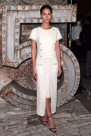 Lily Aldridge looked very polished in a white Chanel dress during the brand's dinner and cocktails.
