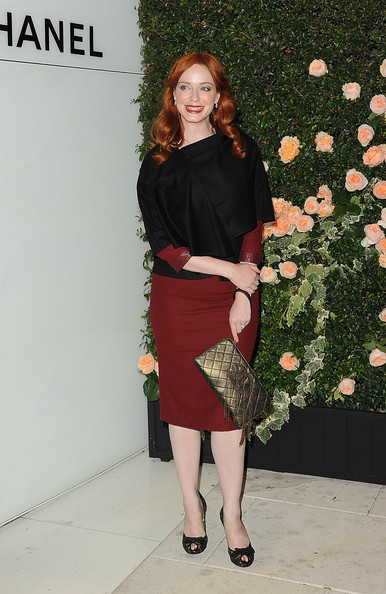 More Pics of Christina Hendricks Peep Toe Pumps (1 of 11) - Christina Hendricks Lookbook - StyleBistro