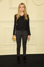 Nicola Peltz added a playful touch with a pair of glittery skinnies.