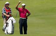 Real men wear pink. Just ask Tiger Woods who wore this fuchsia polo while on the course.