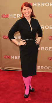 Kate Flannery played up her LBD with a pair of hot pink tights for the CNN All-Star Tribute.