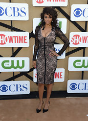 Tyra's black lace dress had a dark Gothic vibe to it at the 2013 Summer TCA Party.