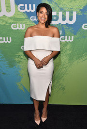 Gina Rodriguez was classic and stylish in a white off-the-shoulder dress by Lavish Alice at the CW Network's 2016 New York Upfront.