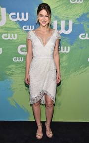 Melissa Benoist looked very dainty in a white lace dress by Marchesa while attending the CW Network's 2016 New York Upfront.