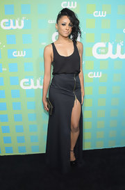 Kat Graham paired her sexy skirt with a blousy black tank at the CW Upfront soiree.