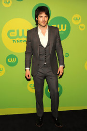 Ian Somerhalder rocked this charcoal and orange plaid three-piece suit at the CW Upfront event.