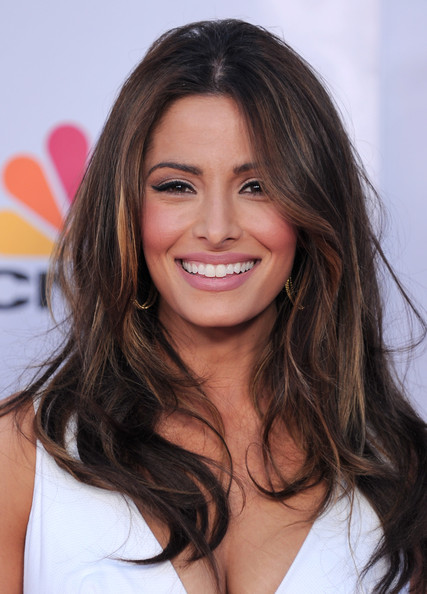 Sarah Shahi showed off her stunning wavy locks while walking the red carpet. Her center part hair looked runway ready.