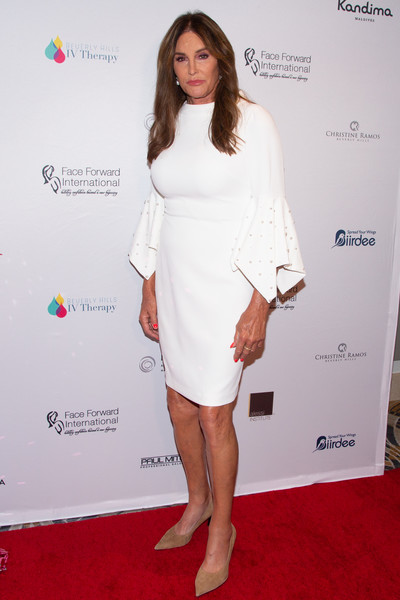 Caitlyn Jenner Cocktail Dress [highlands to the hills,clothing,white,dress,cocktail dress,red carpet,shoulder,carpet,fashion,premiere,leg,caitlyn jenner,california,los angeles,face forward international 10th annual gala]