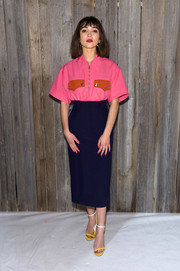 Rowan Blanchard rounded out her look with a pair of ombre sandals by Calvin Klein.