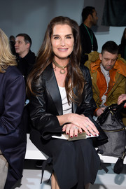 Brooke Shields looked smart in a black leather blazer as she sat front row at the Calvin Klein fashion show.