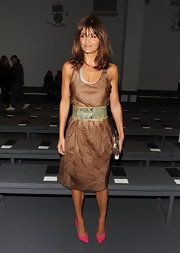 Super-model Helena Christensen made a vibrant appearance at the Calvin Klein Fashion Show. Her bright pink heels were super funky.