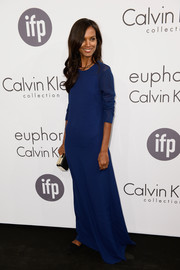 Liya Kebede was all about simple elegance in this blue Calvin Klein evening dress during the brand's Cannes party.