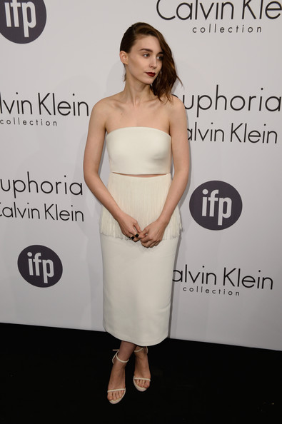 Rooney Mara kept it simple yet sophisticated all the way down to her white Calvin Klein sandals.