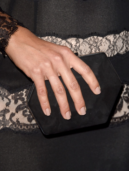 Camila Alves Suede Clutch [nail,finger,hand,wrist,fashion,dress,nail care,ring,fashion accessory,manicure,arrivals,camila alves mcconaughey,matthew mcconaughey,american cinematheque award,clutch detail,beverly hills,california,the beverly hilton hotel]