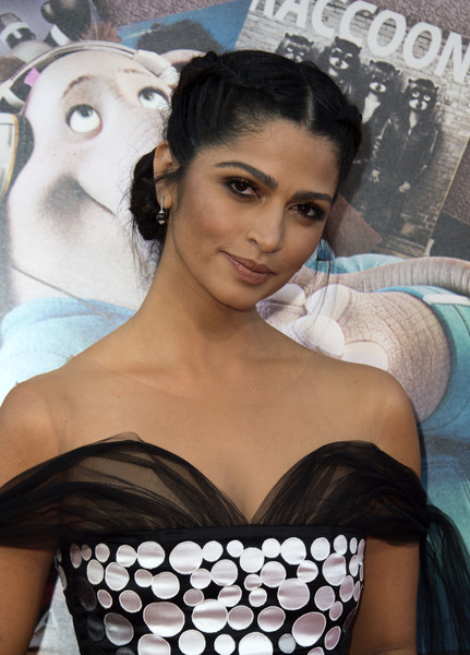 Camila Alves Dangling Gemstone Earrings [beauty,hairstyle,black hair,photo shoot,chest,neck,eyelash,model,art,arrivals,camila alves,valerie macon,sing,los angeles,california,universal pictures,afp,premiere,premiere]
