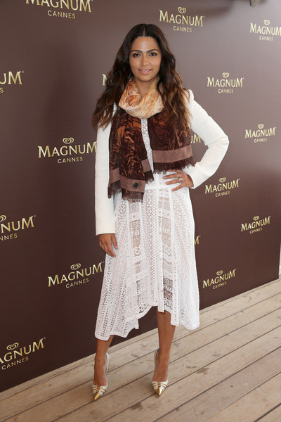 Camila Alves Lace Dress [clothing,white,fashion,beauty,fashion model,fashion design,dress,footwear,outerwear,long hair,belgian chocolate wrap,camila alves,chocolate,aroma,gift,cannes,france,bcbgmaxazria,magnum,purchase]