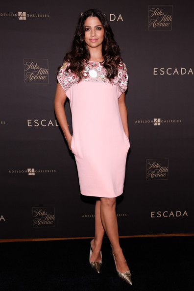 Camila Alves Evening Pumps [escada meets thilo westermann,clothing,fashion model,dress,cocktail dress,fashion,shoulder,pink,beauty,hairstyle,long hair,camila alves,new york city,adelson galleries,escada,collection launch event,thilo westermann collection launch]