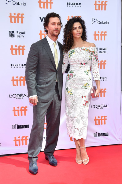 Camila Alves Strappy Sandals [sing,red carpet,carpet,premiere,suit,event,dress,flooring,formal wear,award,fashion design,matthew mcconaughey,camila alves,toronto,canada,princess of wales theatre,l,toronto international film festival - sing premiere,premiere]