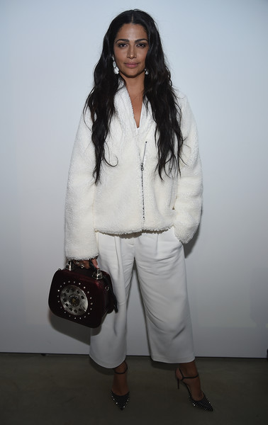 Camila Alves Studded Heels [the minefield girl,white,clothing,fashion,shoulder,outerwear,fashion design,trousers,shoe,camila alves,new york city,lightbox,audio visual book launch]