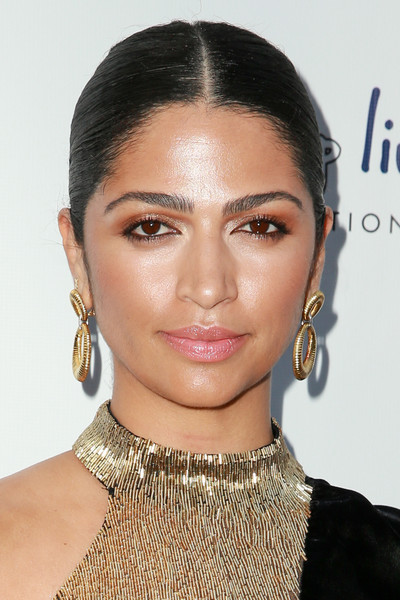 Camila Alves Gold Hoops [hair,face,eyebrow,hairstyle,lip,chin,beauty,forehead,cheek,fashion,camila alves,issue,los angeles,sofitel los angeles,california,beverly hills,bella,launch party]
