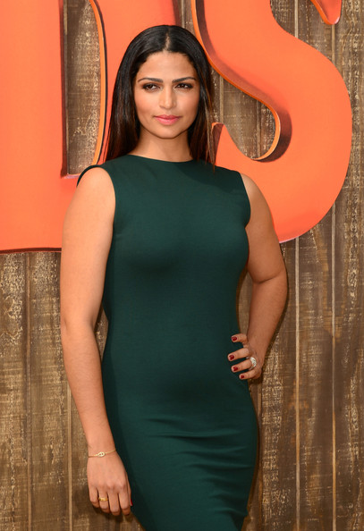Camila Alves Red Nail Polish [free birds,clothing,orange,green,dress,shoulder,red,cocktail dress,beauty,yellow,neck,camila alves,california,relativity media,westwood,premiere,premiere]