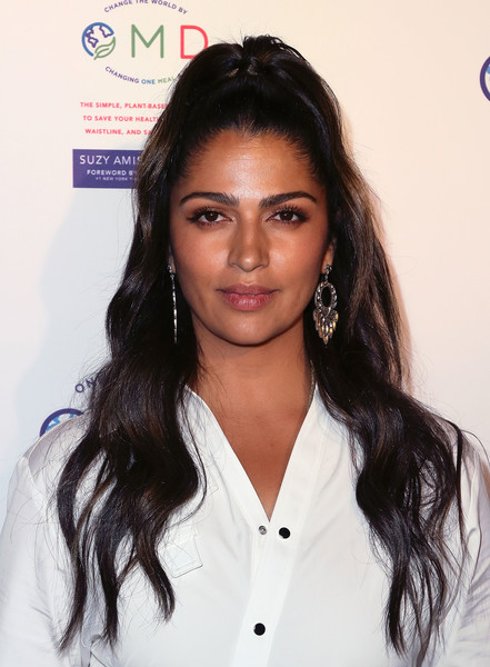 Camila Alves Half Up Half Down [book,book,hair,hairstyle,eyebrow,beauty,long hair,black hair,forehead,lip,layered hair,hair coloring,suzy amis,james cameron hosts book launch party,camila alves,crossroads kitchen,california,los angeles,omd,book launch party]