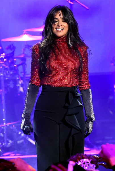 Camila Cabello Jeweled Gloves [performance,entertainment,music artist,fashion,event,public event,performing arts,fashion model,purple,lighting,camila cabello,la,california,party,dick clarks new years rockin eve with ryan seacrest]
