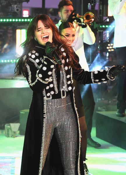 Camila Cabello Leather Gloves [performance,fashion,event,music artist,performing arts,pop music,dress,fashion design,singer,style,dick clarks new years rockin eve with ryan seacrest,new york city,camila cabello]