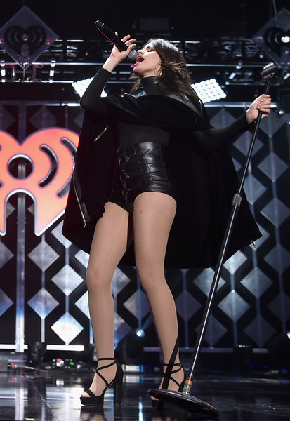 Camila Cabello Cape [jingle ball 2016,show,performance,entertainment,performing arts,thigh,leg,singing,latex clothing,fashion,stage,event,camila cabello,new york new york,madison square garden,z100]