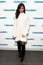 Camila Cabello showed off her winter style with this white cable-knit sweater dress while visiting SiriusXM.