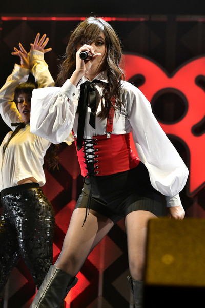 Camila Cabello Fitted Blouse [performance,thigh,leg,performing arts,event,stage,public event,fashion,music,singer,camila cabello,bb t center,sunrise,florida,y100,jingle ball 2017 - show]