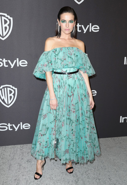 Camilla Belle Off-the-Shoulder Dress [clothing,shoulder,dress,fashion model,turquoise,fashion,joint,strapless dress,hairstyle,aqua,camilla belle,beverly hills,california,the beverly hilton hotel,instyle,golden globes,warner bros.,arrivals,party]